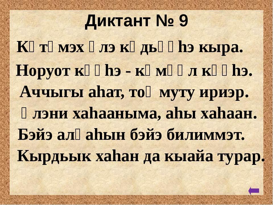 Диктант № 8 Киhи тыла - ох. Күлүгэр имнэнэр. Уйатыгар уу киирбит. Силиhэ суо...