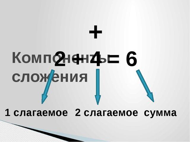 Компоненты сложения 2 + 4 = 6 1 слагаемое 2 слагаемое сумма +