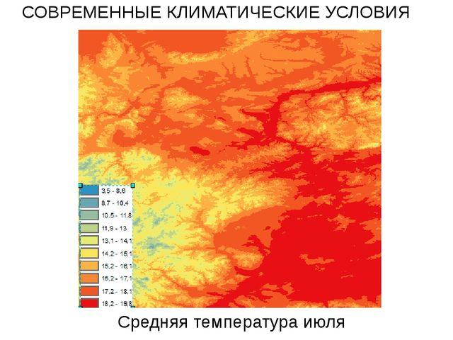 Средняя температура июля СОВРЕМЕННЫЕ КЛИМАТИЧЕСКИЕ УСЛОВИЯ