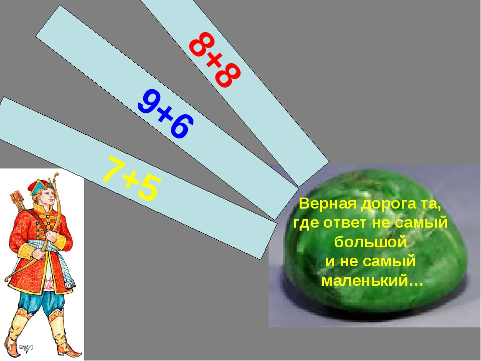 Верная дорога та, где ответ не самый большой и не самый маленький… 7+5 9+6 8+8