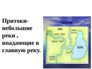Притоки- небольшие реки , впадающие в главную реку.