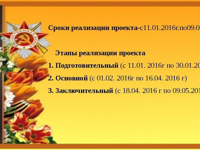 Сроки реализации проекта-с11.01.2016г.по09.05.2016г. Этапы реализации проекта...