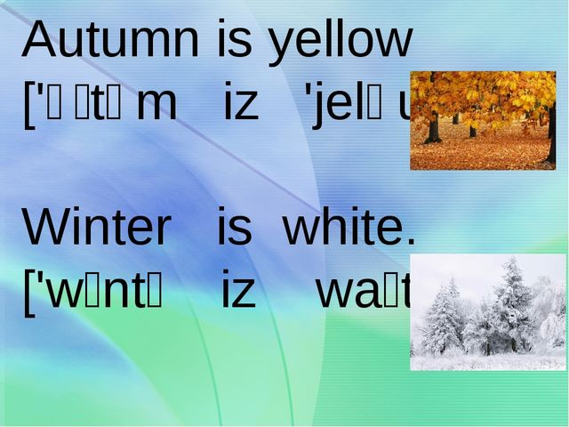 Autumn is yellow ['ɔːtəm iz 'jeləu] Winter is white. ['wɪntə iz waɪt]
