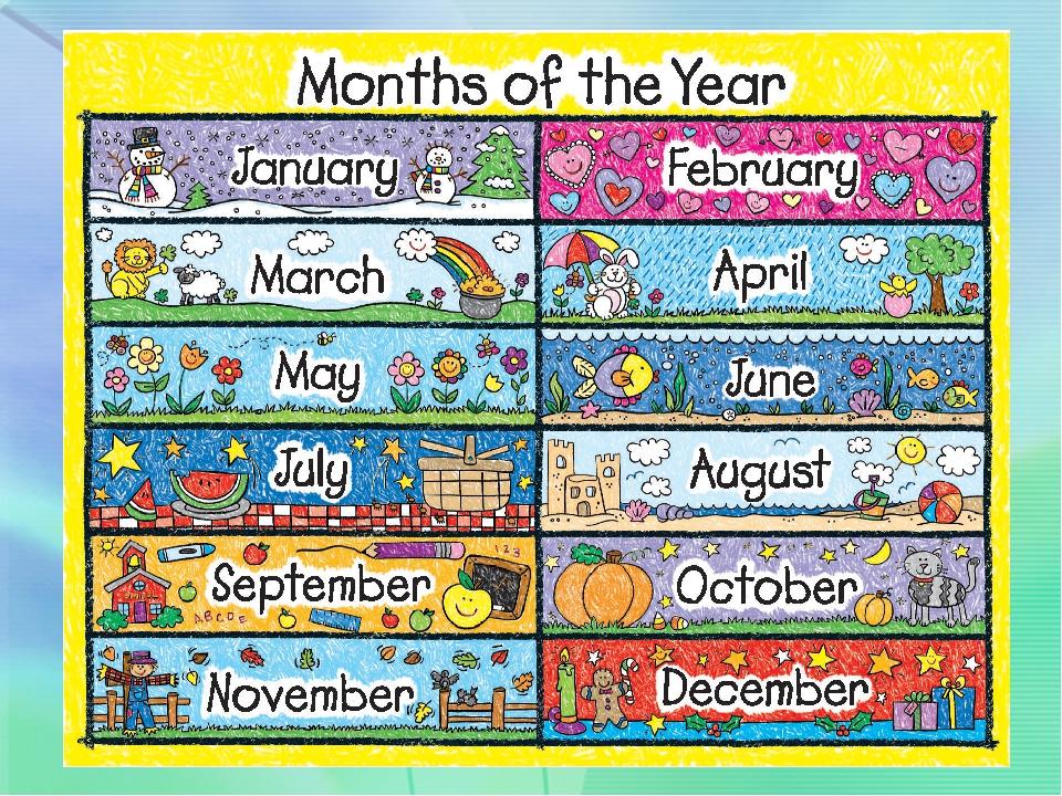 Календарь в картинках по-английски