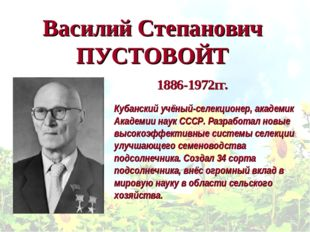 Василий Степанович ПУСТОВОЙТ Кубанский учёный-селекционер, академик Академии