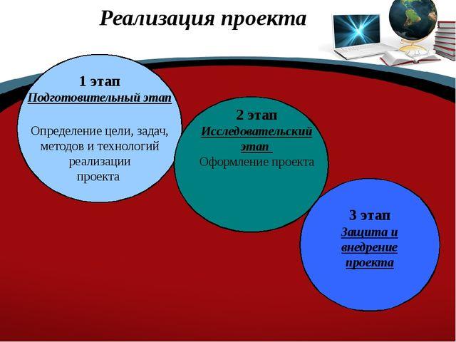 Реализация проекта 1 этап Подготовительный этап Определение цели, задач, мет...