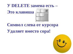 У DELETE замена есть – Это клавиша …  Символ слева от курсора Удаляет
