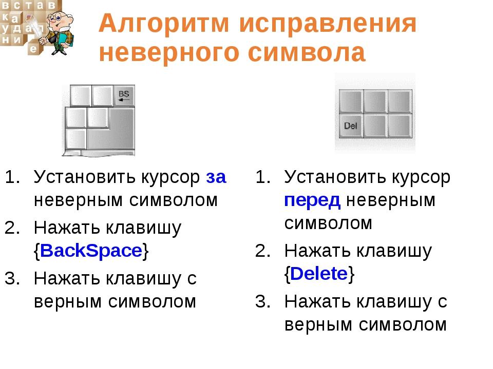 Алгоритм исправления неверного символа Установить курсор за неверным символом...