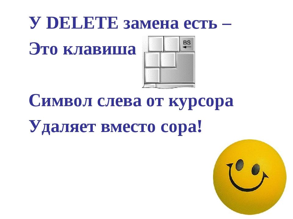 У DELETE замена есть – Это клавиша …  Символ слева от курсора Удаляет...