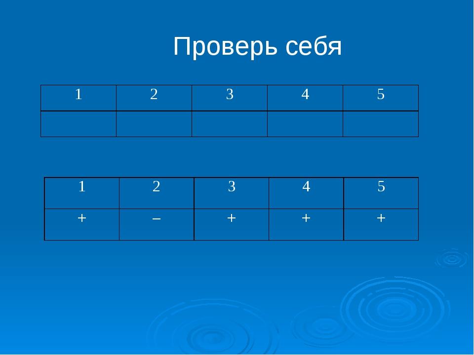 Проверь себя 12345  12345 +–+++