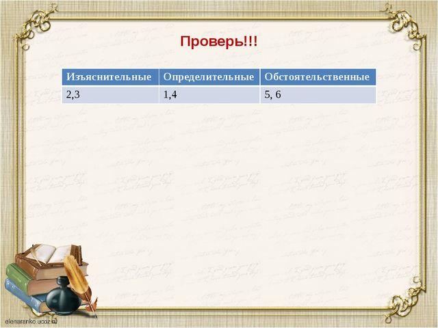 Проверь!!! Изъяснительные Определительные Обстоятельственные 2,31,45, 6