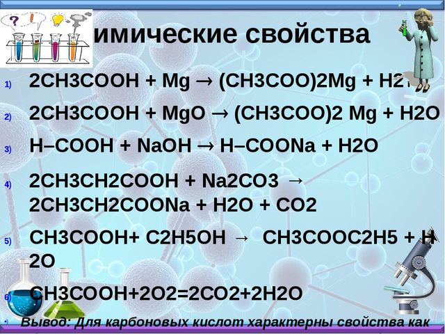 Химические свойства 2СH3COOH + Mg ® (CH3COO)2Mg + H2 2СH3COOH + MgO ® (CH3CO...