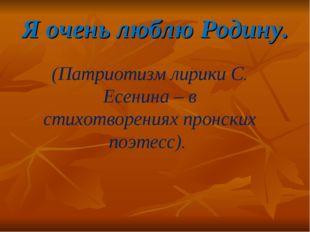 Я очень люблю Родину. (Патриотизм лирики С. Есенина – в стихотворениях пронск