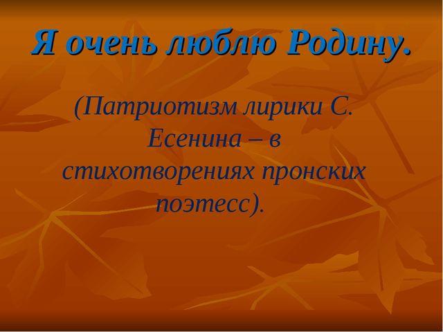 Я очень люблю Родину. (Патриотизм лирики С. Есенина – в стихотворениях пронск...