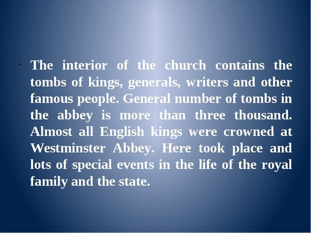 The interior of the church contains the tombs of kings, generals, writers an...