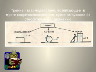 Трение - взаимодействие, возникающее в месте соприкосновения тел, препятству