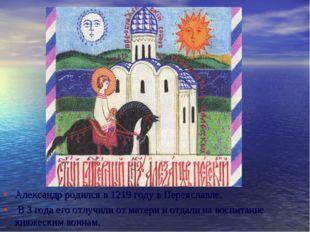 Александр родился в 1219 году в Переяславле. В 3 года его отлучили от матери