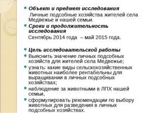 Объект и предмет исследования Личные подсобные хозяйства жителей села Медвежь