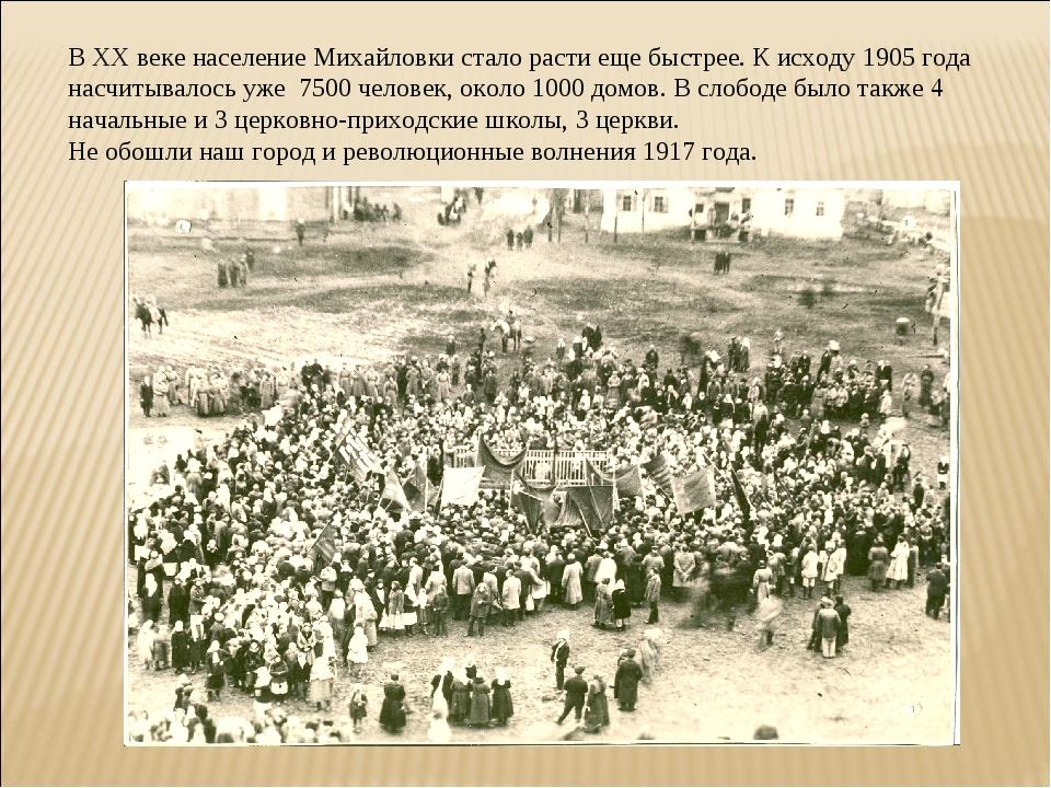 В XX веке население Михайловки стало расти еще быстрее. К исходу 1905 года на...