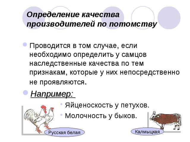 Определение качества производителей по потомству Проводится в том случае, есл...