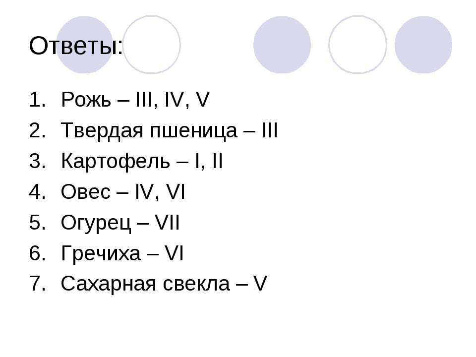 Ответы: Рожь – III, IV, V Твердая пшеница – III Картофель – I, II Овес – IV,...