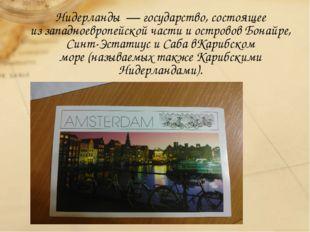 Нидерланды—государство, состоящее иззападноевропейскойчасти и острововБ