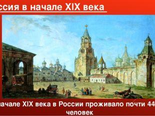 Россия в начале XIX века В начале XIX века в России проживало почти 44 млн че