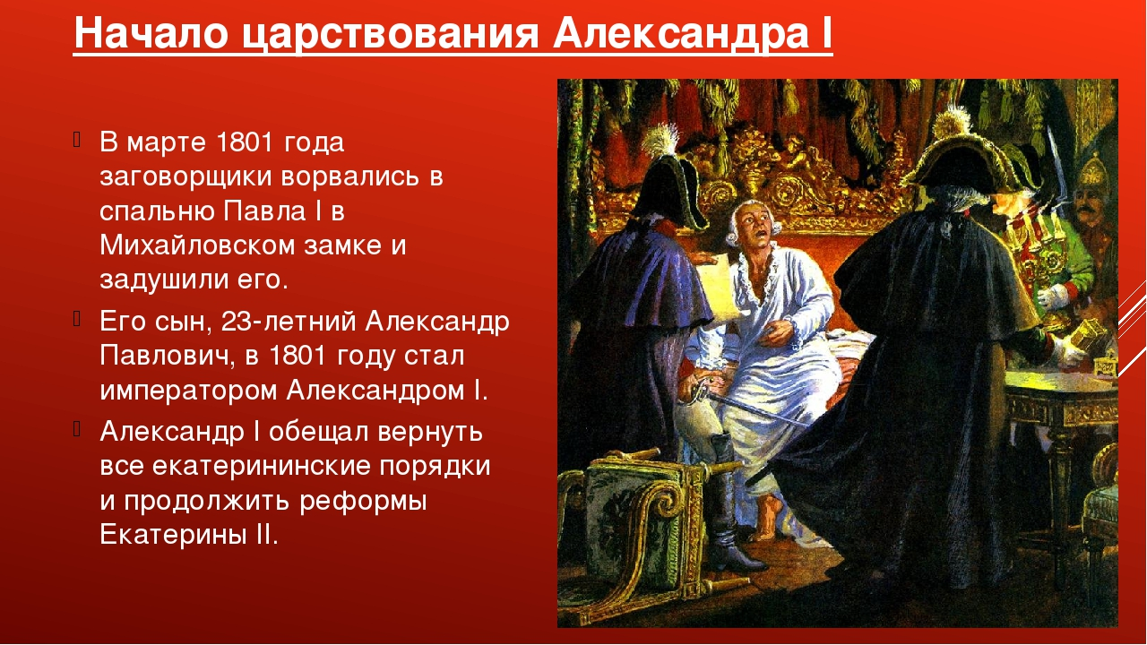 Начало царствования Александра I В марте 1801 года заговорщики ворвались в сп...