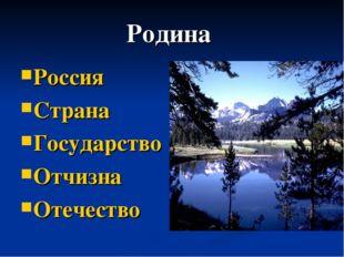 Родина Россия Страна Государство Отчизна Отечество