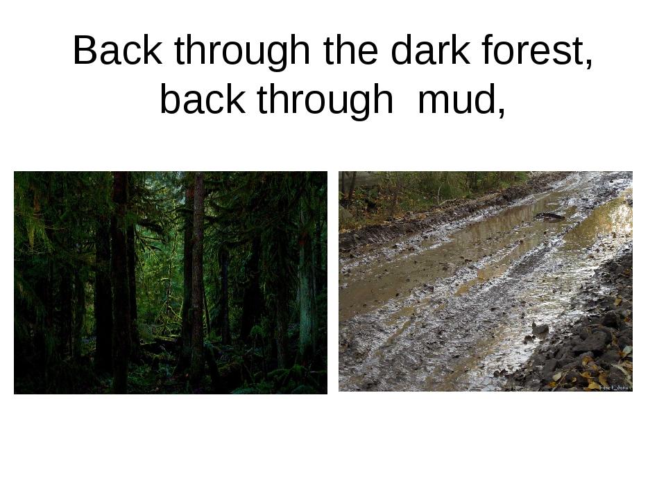 Back through the dark forest, back through mud,