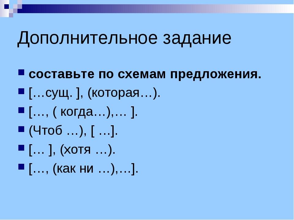 Дополнительное задание составьте по схемам предложения. […сущ. ], (которая…)....