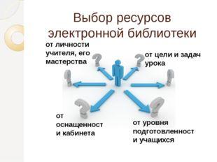 Выбор ресурсов электронной библиотеки зависит от… от личности учителя, его ма
