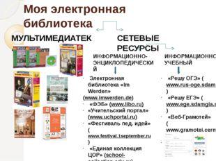 Моя электронная библиотека МУЛЬТИМЕДИАТЕКА СЕТЕВЫЕ РЕСУРСЫ ИНФОРМАЦИОННО-ЭНЦИ