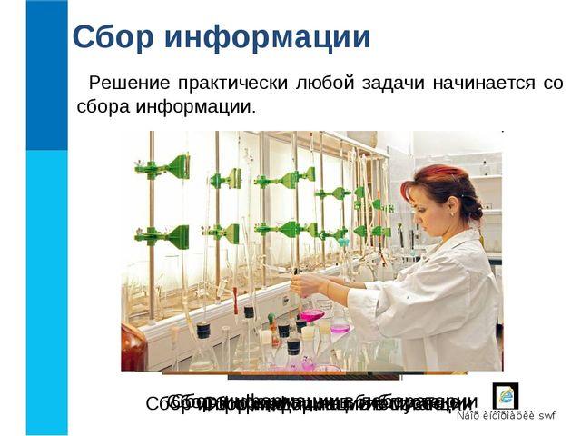 Сбор информации Решение практически любой задачи начинается со сбора информац...