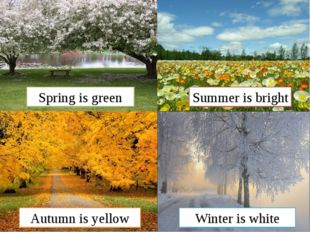 Winter is white Autumn is yellow Summer is bright Spring is green