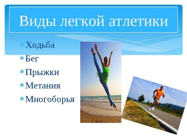 Ходьба Бег Прыжки Метания Многоборья Виды легкой атлетики