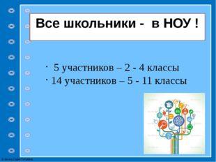 Все школьники - в НОУ ! 5 участников – 2 - 4 классы 14 участников – 5 - 11 кл