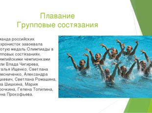 Плавание Групповые состязания Команда российских синхронисток завоевала золот