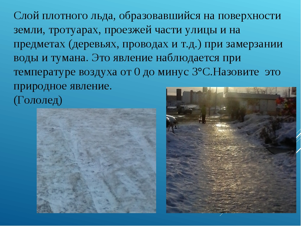 Слой плотного льда, образовавшийся на поверхности земли, тротуарах, проезжей...