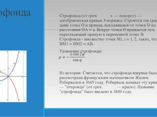 Строфоида Строфоида (от греч. στροφή — поворот) — алгебраическая кривая 3-пор