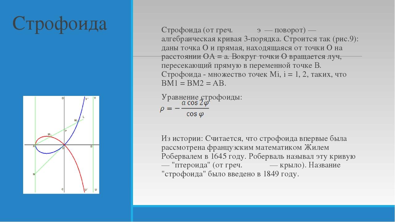 Строфоида Строфоида (от греч. στροφή — поворот) — алгебраическая кривая 3-пор...