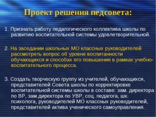 Проект решения педсовета: 1. Признать работу педагогического коллектива школы