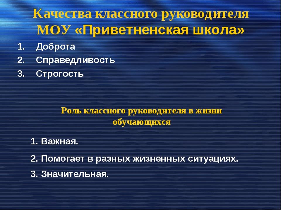 Качества классного руководителя МОУ «Приветненская школа» Доброта Справедливо...