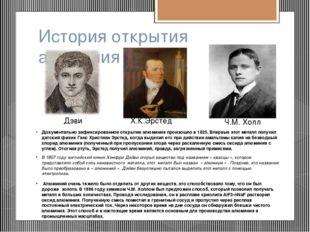 История открытия алюминия Х.К.Эрстед Дэви Ч.М. Холл Документально зафиксирова