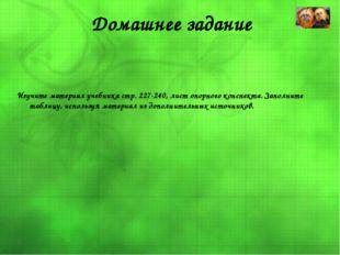 Домашнее задание Изучите материал учебника стр. 227-240, лист опорного конспе