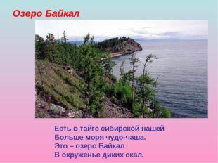 Озеро Байкал Есть в тайге сибирской нашей Больше моря чудо-чаша. Это – озеро