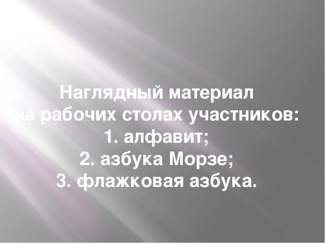 Наглядный материал на рабочих столах участников: 1. алфавит; 2. азбука Морзе;...