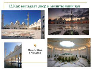 12.Как выглядят двор и молитвенный зал мечети? Мечеть Шаха в Абу Даби.