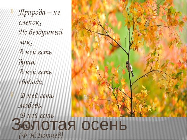 Золотая осень Природа – не слепок, Не бездушный лик, В ней есть душа, В ней е...