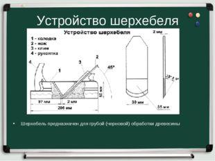 Устройство шерхебеля Шерхебель предназначен для грубой (черновой) обработки д